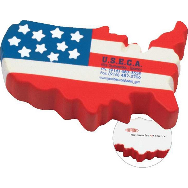 Patriotic Us Map Shape Stress Reliever Photo