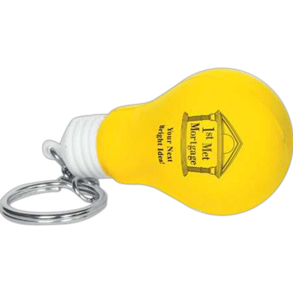 Light Bulb Shape Stress Reliever With Key Chain Photo