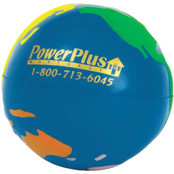 "Multicolor Earth Ball Shape Stress Reliever, Size 2 1/2"" Diameter Photo"