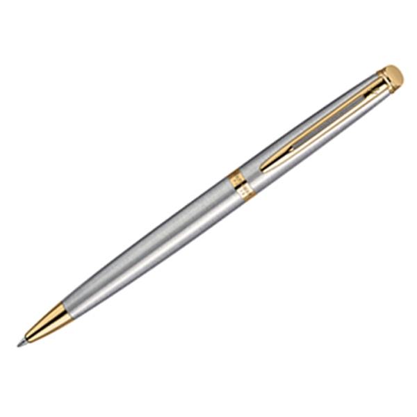 Hemisphere (r) - 23.3 Karat Gold Electroplated Clip And Trim - Stainless Ballpoint Pen With Tapered Form And Beveled Button Photo