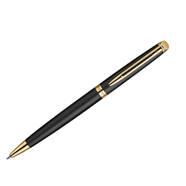 Hemisphere (r) - 23.3 Karat Gold Electroplated Clip And Trim - Matte Black Ballpoint Pen With Tapered Form And Beveled Button Photo