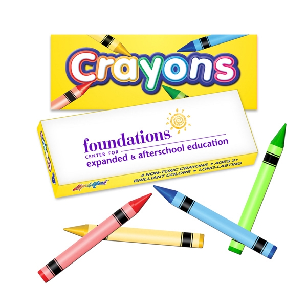 Four Pack Crayon Box. Crayon Colors Include; Red, Yellow, Green And Blue Photo