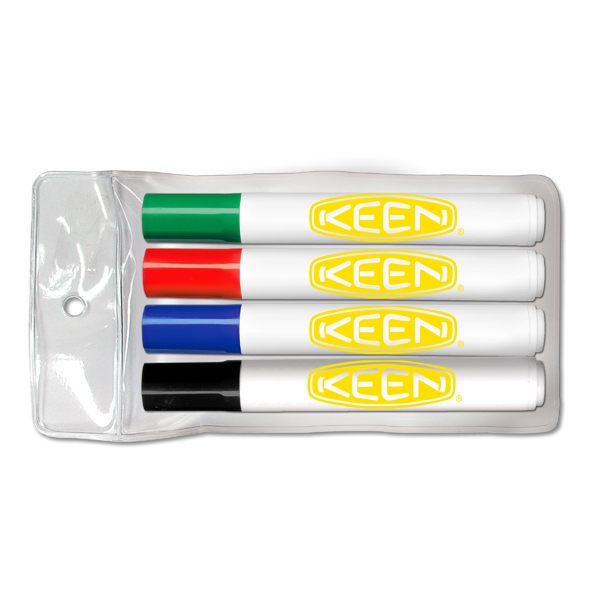 Four pack of low odor dry erase markers