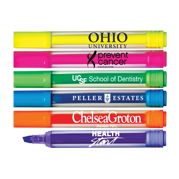 Brite Spots (r) - Direct Imprint - Clear Barrel Jumbo Highlighter With Broad Chisel Tip. Made In Usa Photo