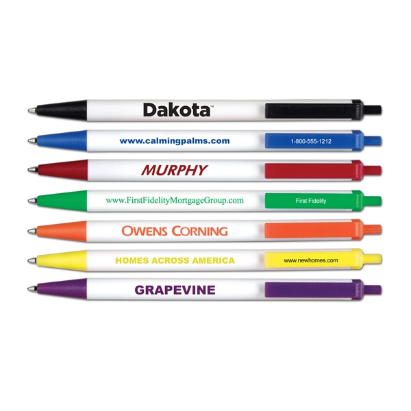 Dakota - Retractable Ball Point Pen With White Barrel Photo