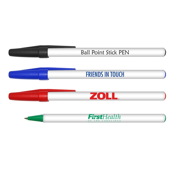 Round Ball Point Stick Pen With White Barrel Photo