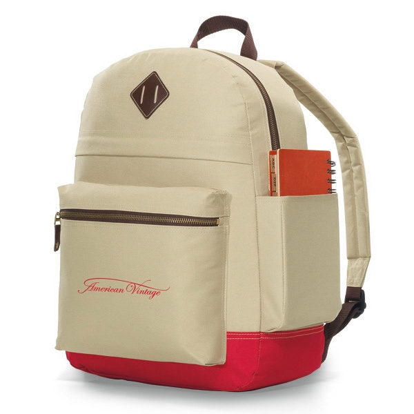 "Heritage Supply (tm) - Khaki-red - Computer Backpack With Exterior, Padded Tablet Pocket (fits Up To 10"" Tablet) Photo"