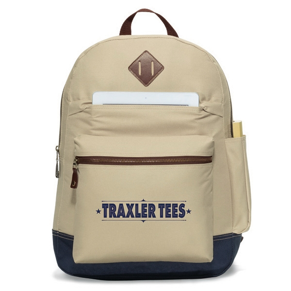 "Heritage Supply (tm) - Khaki-navy - Computer Backpack With Exterior, Padded Tablet Pocket (fits Up To 10"" Tablet) Photo"