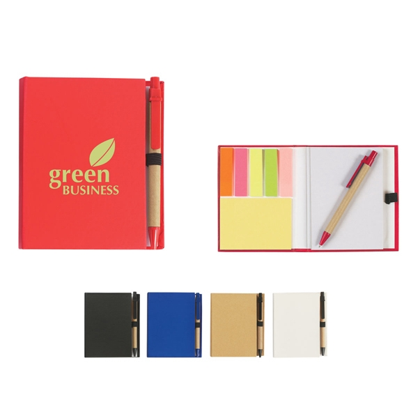 Eco-friendly Notebook With Pen, Sticky Flags, And Sticky Notes Photo