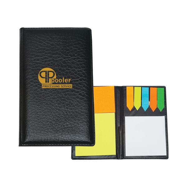 Leather Look Padfolio With Sticky Note Pads And Flags Photo