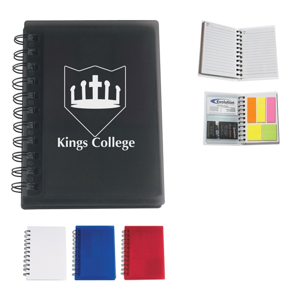 Spiral Notebook With Sticky Notes And Card Holders Photo