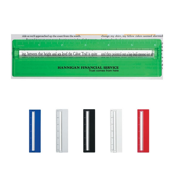 """Plastic 6"""" Ruler With Magnifying Glass"""