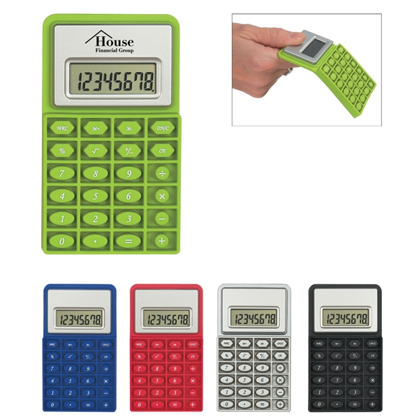 Flexi Calc - Mini Flexible Rubber Calculator With 8 Digit Display Photo