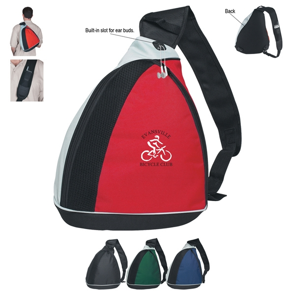 Silkscreen - Sling Backpack With Large Front Zippered Pocket With Black And Gray Trim Photo