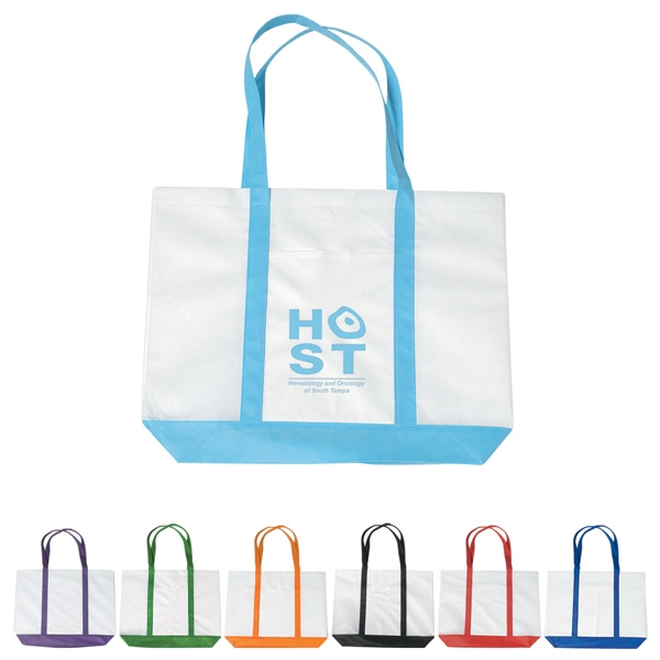 "Non Woven Tote Bag With Trim Colors With 24"" Handles Photo"