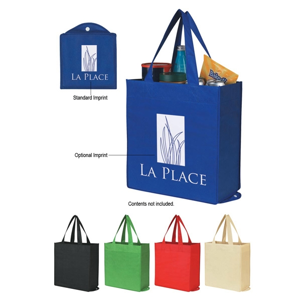 "Recyclable Foldable Shopper Tote Bag With Reinforced 20"" Handles Photo"
