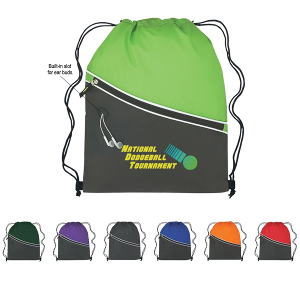 Two-tone Sports Pack With Drawstring Closure And Large Front Zippered Pocket Photo