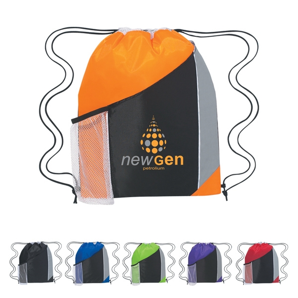 Tri-color Drawstring Sports Pack With Large Front Pocket And Side Mesh Pocket Photo