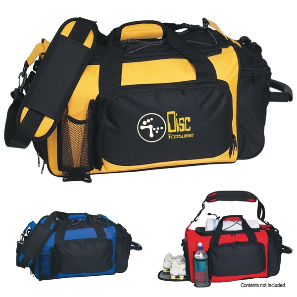 Embroidery - Deluxe Sports Duffel Bag With Double Zippered Top Opening Photo