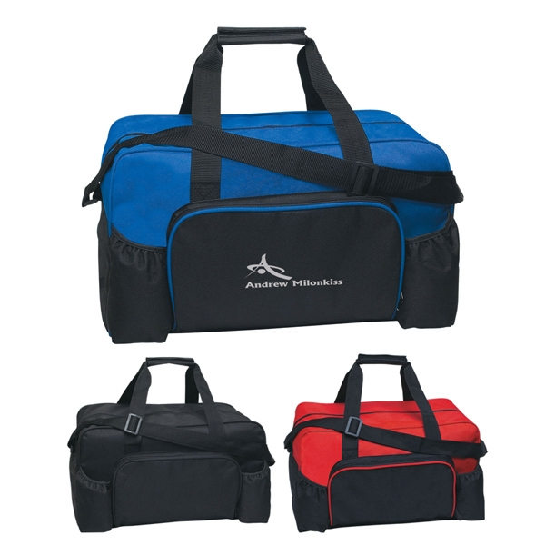 Econo - Embroidery - Polyester Duffel Bag With Two Side Pockets For Cell Phone, Water, Etc Photo