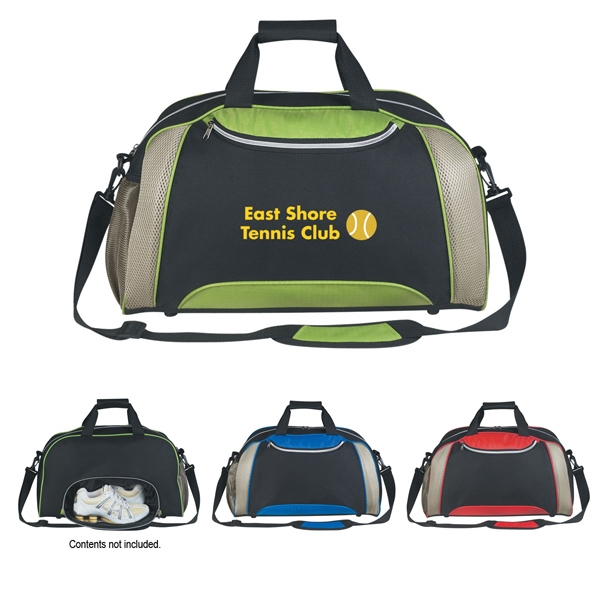 Excel - Embroidery - Polyester And Nylon Duffel Bag With Top Zippered Compartment Photo