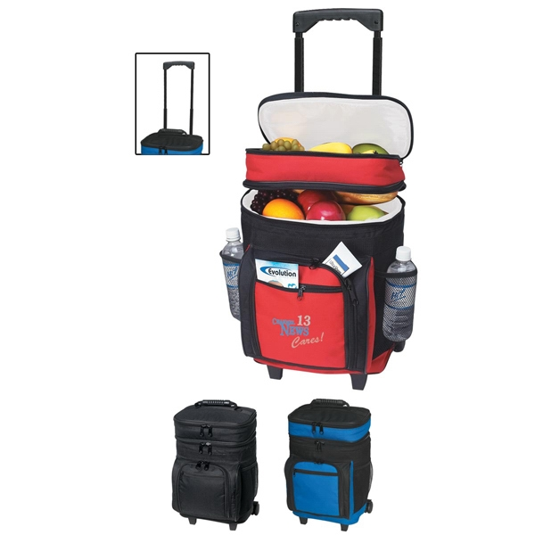 Kooler - Embroidery - Large Insulated Rolling Cooler, Holds Up To 30 Cans, Made Of 420 Denier Polyester Photo