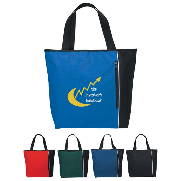 "Classic - Embroidery - Polyester Tote Bag With 22"" Handles And Large Outside Zippered Pocket Photo"