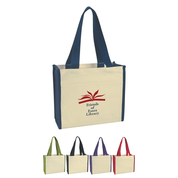 "Embroidery - Heavy Cotton Canvas Tote Bag With 27"" Handles And Outside Pocket Photo"