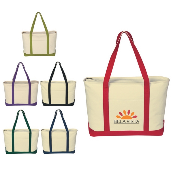 "Transfer - Cotton Canvas Boat Tote With 30"" Handles, Outside Pocket And Zippered Top Closure Photo"