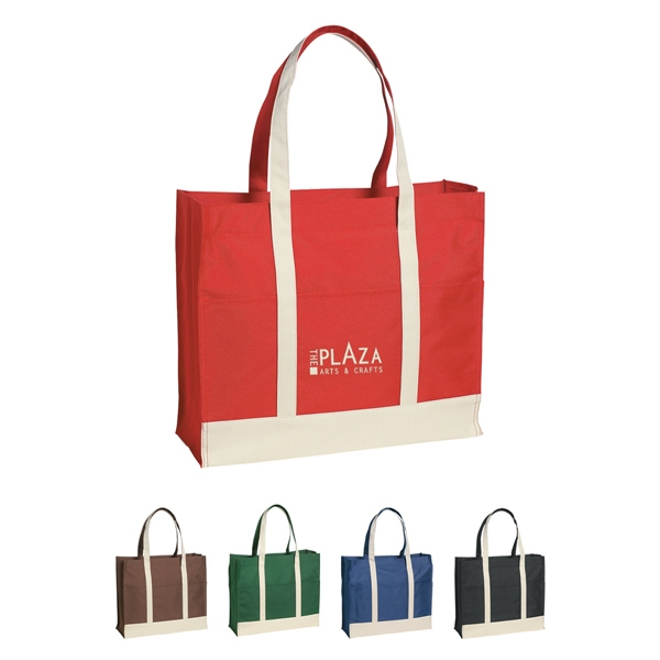 Two Tone Polyester Tote Bag With Top Zippered Closure With Beige Handles And Trim Photo