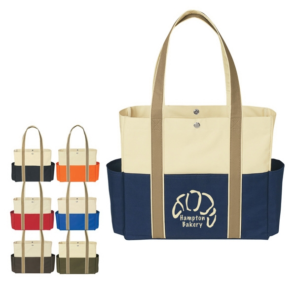 "Polyester Tote Bag With Top Snap Closure And 23"" Handles Photo"