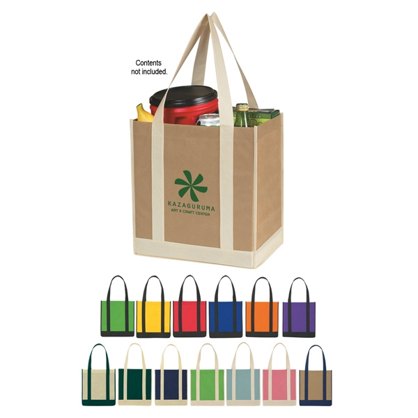 "Recyclable Two-tone Tote Bag With Reinforced 21"" Handles Photo"