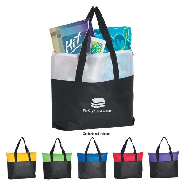 Silkscreen - Non Woven Zippered Tote Bag With Black Accents And Handles Photo