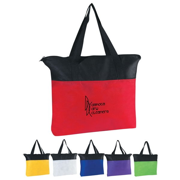 "Zippered Tote Bag, Non-woven With 22"" Handles Photo"
