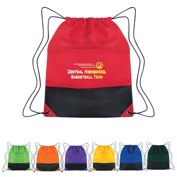 Non-woven Two-tone Drawstring Sports Pack With Outside Pocket Photo