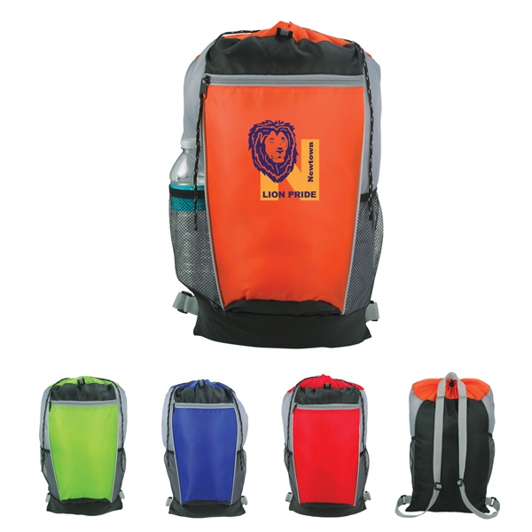 Tri-color - Embroidery - Backpack Made Of 210d Polyester And Front Zippered Pocket Photo