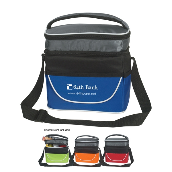 Insulated Two Compartment Lunch Bag With Adjustable Shoulder Strap Photo
