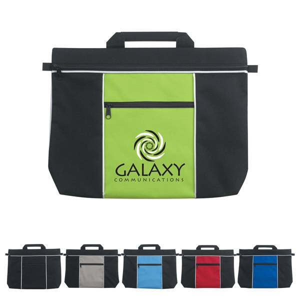 Metro - Silkscreen - Polyester Document Bag With Carrying Handle And Front Zippered Pocket Photo