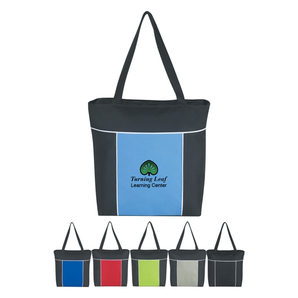 "Metro - Silkscreen - Polyester Tote Bag With Top Zippered Closure And 23"" Handle Photo"