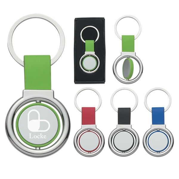 Circular Metal Spinner Key Tag Photo