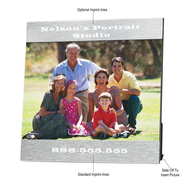 "Aluminum Photo Frame, 7 1/4"" X 7 1/4"", Holds 5"" X 7"" Photo Photo"