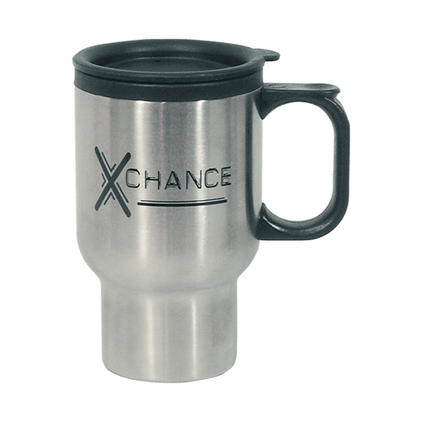 Stainless Steel Travel Mug With Sip-through Lid And Plastic Inner Liner, 16 Oz Photo