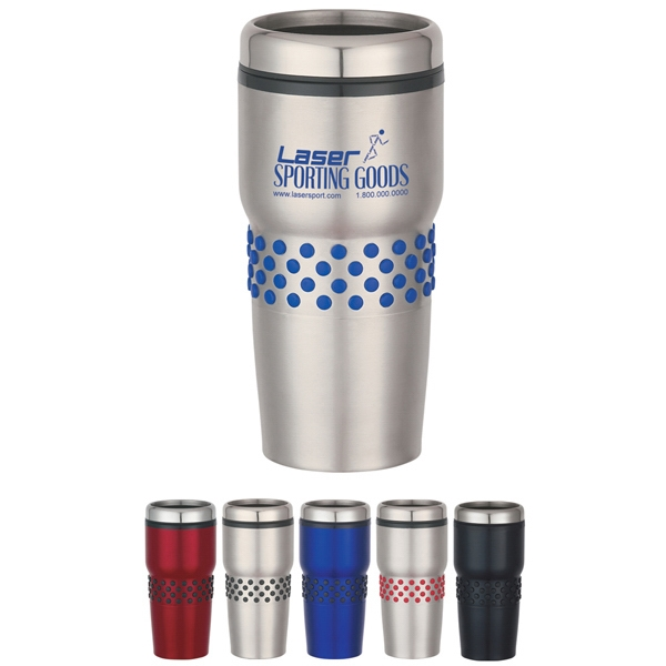 Stainless Steel Double Wall Tumbler With Dotted Rubber Grip Photo