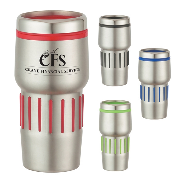 16 Oz. Stainless Steel Tumbler With Rubber Grips Photo