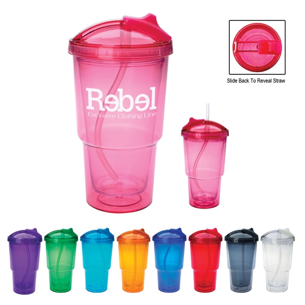 16 Oz. Double Wall Tumbler With Straw Photo