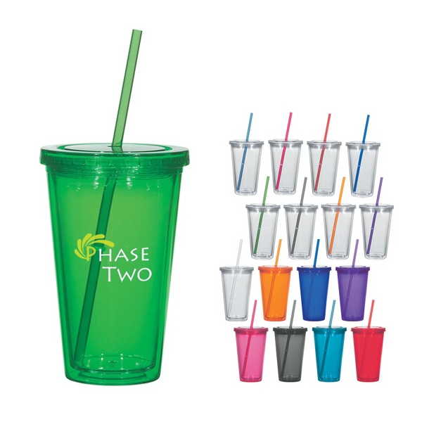 16 Oz. Double Wall Acrylic Tumbler With Straw Photo