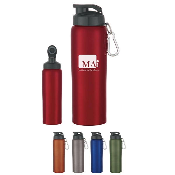 24 Oz. Stainless Steel Bike Bottle With Screw On, Spill Resistant Sip Through Lid Photo