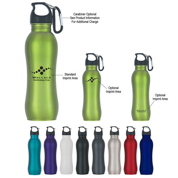 Stainless Steel Grip Bottle With Screw On Spill Resistant Lid, 25 Oz Photo