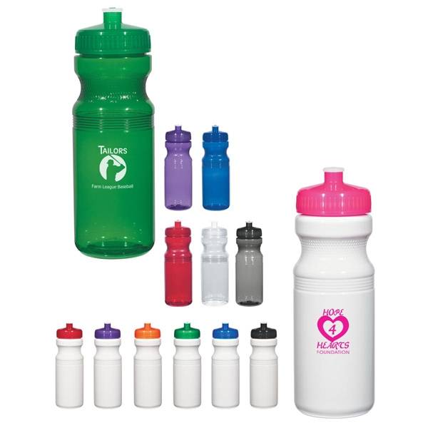 Hitgreen (tm) Poly-clear (tm) - Purple - Fitness Bottle With Leak Resistant Push Pull Lid, 24 Oz Photo