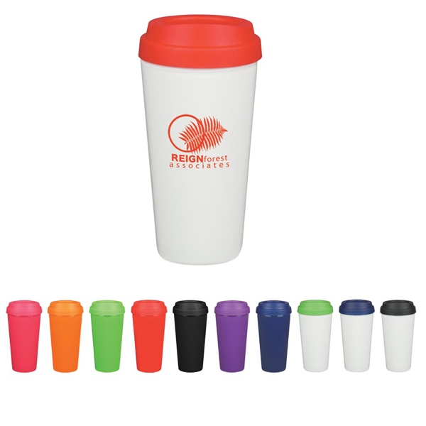 16 Oz. Double Wall Plastic Tumbler With Lid Photo